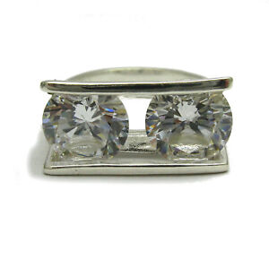 Sterling silver ring solid 925 with 2X10mm round cubic zirconia R001766 Empress