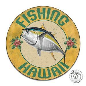 Fishing Hawaii Game Fish Yellow Fin Tuna Fish Design Circle Aluminum Sign