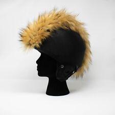 natural brown faux fur ski helmet cover mohawk head band