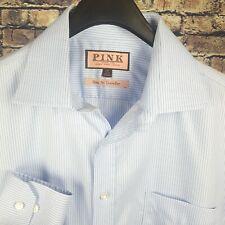 THOMAS PINK Mens Blue Pin Striped L/S Dress Shirt 16-36 Slim Fit Traveller