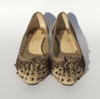 CHRISTIAN LOUBOUTIN Mix Beige Suede Knotted Mesh Spiked Toe Ballet Flats 38.5 GC