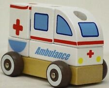Children Wooden Roll Along Pre-School/Young Kids Toy Ambulance Shapes Sorter