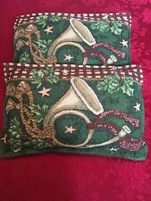 Christmas Pillow French Horn Holly Rectangle Green Gold Tapestry Placemat Used