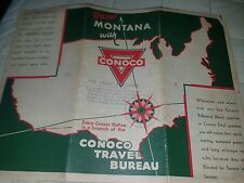 1930s  Conoco oil Montana MAP  includes  Yellowstone Glacier -Good condition