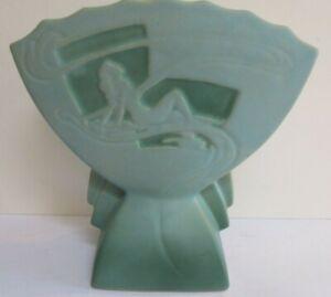 Roseville Silhouette 783-7 Nude Fan Vase Blue