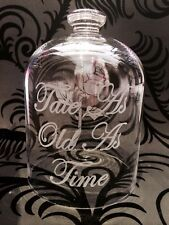 STUNNING Beauty & The Beast Hand Engraved Rose Bell Jar Glass Dome Custom Made!