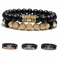 Luxury Micro Pave CZ Ball Crown Matte Agate Bead Charm Bracelets Couple Jewelry