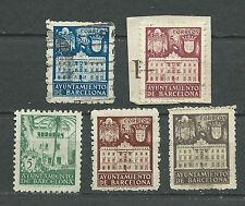 ESPAÑA 1942-1945 BARCELONA EDIFIL 33 34 36 37 Y 67 USADOS