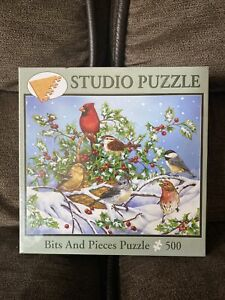 "New 500 Piece Jane Maday: Art PUZZLE  ""Holly Birds""  No. 46663 16"" x 20"" *Sealed"