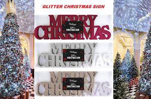 CHRISTMAS SIGN Glitter foam Plaque merry Xmas Window Decoration free standing