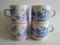 "Blue Willow C England Set of (4) Stackable Tea Coffee Mugs Cups 3"" x 3"" Vintage"