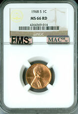 1968-S LINCOLN CENT NGC MAC MS66 RED FMS PQ 2ND FINEST GRADE RARE .