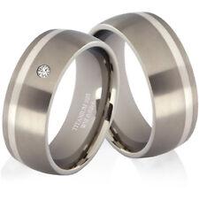 Eheringe Trauringe mit Diamant aus Titan und 925 Silber Partnerringe TGB07