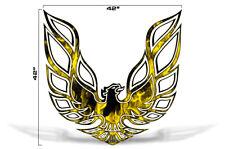"42"" X 42"" Firebird Hood Graphic Decal Sticker For Pontiac Trans Am YELLOW FLAMES"