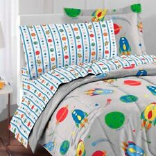 nEw 5pc Outer Space Rocket Ship Twin Bed-In-Bag - Children Planet Galaxy Bedding