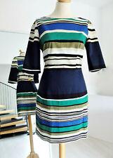 WAREHOUSE BLUE BLACK GREEN STRIPED DRESS SIZE 12 40 M