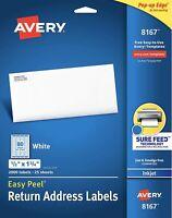 "5 Sheets Avery 5167 Return Address Labels 1//2/"" x 1 3//4/"" LASER B2G1"