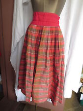 Vtg 1950's super full pleated pink tan striped cotton Paris made skirt 38 S
