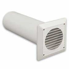 "Extractor Fan Wall Duct Kit - 4"" 100mm Solid Tube Ducting + White Fixed Grille"
