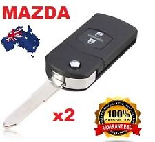 2 x Mazda 2 Button Remote Flip Key Shell to Suit Mazda 2 3 5 6 RX7 RX8