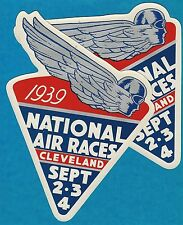 "VINTAGE PAIR ORIGINAL 1939 ""NATIONAL AIR RACES"" ART DECO DECALS CLEVELAND OHIO"