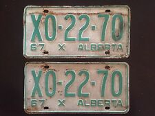 1967 Alberta License Plates Matched Pair X0 22 70 Vtg Plate Set Tag Canada AB