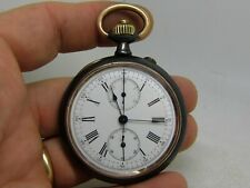 montre gousset chronographe LONGINES 19.73N boite acier high grade vintage