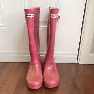HUNTER Women's Original Tall Gloss Bright Pink Rain Boots Sz 7 MSRP $150
