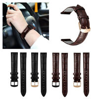Genuine Leather Watch Band w/ Stainless Metal Clasp For 18mm Quick Release Strap
