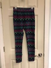 Unbranded Thick Geometric Lined Leggings Blue Pink Purple Green Chevron