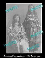 OLD POSTCARD SIZE PHOTO OF INDIAN KIOWA TRIBE GIRLS IN FULL DRESS KANSAS c1890