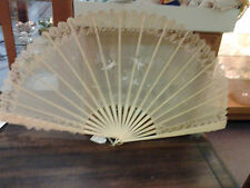 Victorian lace fan,handpainted w/cherubs
