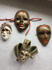 Set Of 4 Decorative Mardi Gras Wall Masks Venetian/ Galos Metal