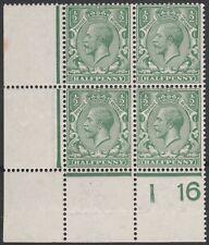1913/18 SG356 N14(14) 1/2d PALE BLUE GREEN MINT CONTROL I16 BLOCK OF 4