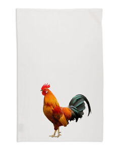 NEW Farmyard Rooster Tea Towel Organic Cotton White
