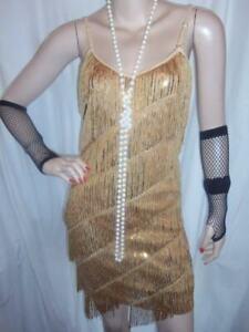 2/8 VINTAGE NEW GOLD SILVER SEQUIN FRINGE FLAPPER 1920 TASSEL FANCY DRESS 8