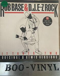 """ROB BASE & D.J. E-Z ROCK - IT TAKES TWO VINYL 7"""" RECORD EX / EX"""