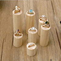 7Pcs Lot Unpainted Natural Wooden Cylindrical Jewelry Display Rack Organizer