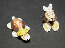 """Vtg Pair of 2"""" Handmade Seashell Animals Figurines Turtle Cat Kitte 00006000 n Miniature"""
