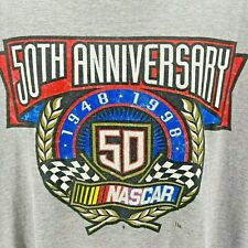 Vintage Nascar Tultex 50th Anniversary 1998 Gray T-Shirt Mens XL