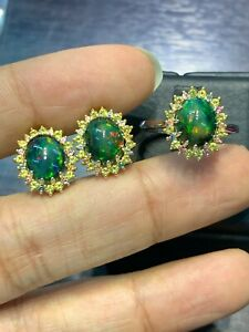 NATURAL BLACK FIRE OPAL11X9 MULTI DIAMOND CUTSTERLING SILVER 925 EARRINGS RING