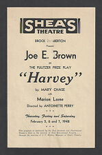 "Joe E. Brown ""HARVEY"" Mary Chase / Pulitzer Prize 1948 Erie Pennsylvania Program"