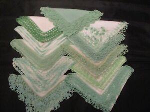 10 Vintage shades of Green crochet & Tatted lace linen hankies handkerchiefs