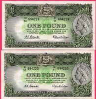 1961 AUSTRALIA ONE POUND NOTES 2 X CONSECUTIVE COOMBS /WILSON HI/51 694219 - 220
