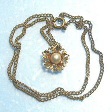"""Golden pendant with a real pearl & 16"""" chain vje"""