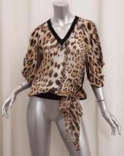 Roberto Cavalli Mujer Marrón Seda Estampado Leopardo Blusa Top S NUEVO a5de5a59565