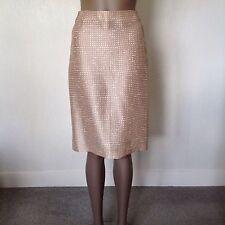 TARA JARMON - 100% Silk Slub Pencil Skirt Coffee And Cream Print Size 36 Unlined