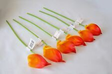 Calla Lilly orange Real Touch foam Artificial Flowers x 6