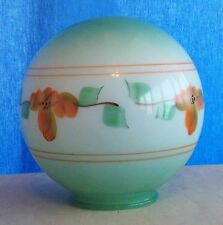 """Vintage Green Floral Glass Round Shade Globe 3 7/8"""" Fitter"""