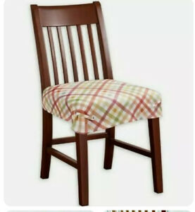 Autumn Gingham Printed Seat Covers Set of 4 Fall Colors Country Rustic NEW FreSh